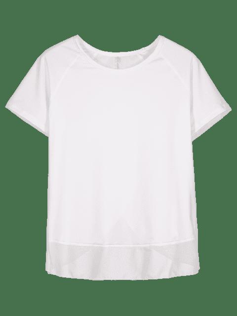 T-shirt Tulipe en Arrière en Maille Insérée - Blanc S Mobile