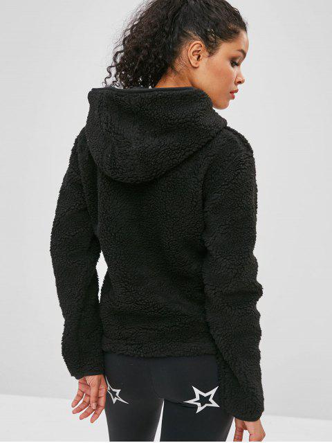 ZAFUL - Kunstpelz-Reißverschluss-Känguru-Taschen-Hoodie - Schwarz M Mobile
