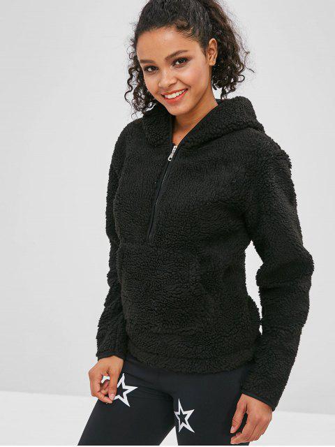 shops ZAFUL Faux Fur Zipper Kangaroo Pocket Hoodie - BLACK L Mobile