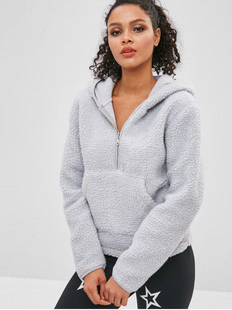 ZAFUL Faux Fur Zipper Kangaroo Pocket Hoodie - Gris Claro S Mobile