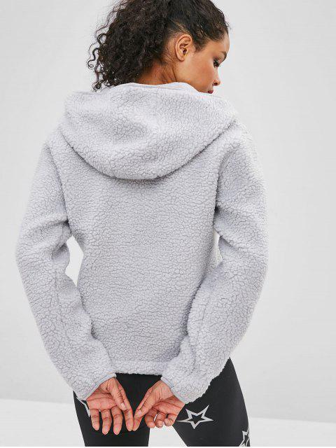 latest ZAFUL Faux Fur Zipper Kangaroo Pocket Hoodie - LIGHT GRAY S Mobile