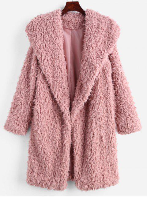 women Fluffy Longline Teddy Coat - PIG PINK S Mobile