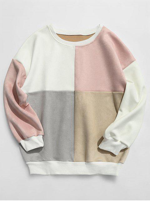 fashion ZAFUL Color Block Suede Sweatshirt - MULTI-E 2XL Mobile