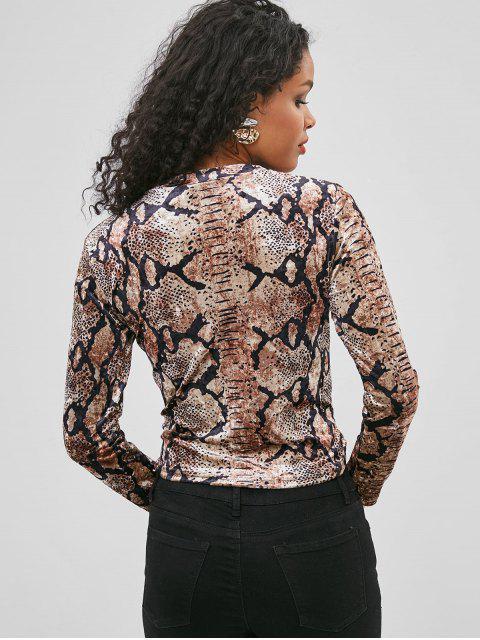shop ZAFUL Leopard Velvet Twist Tee - LEOPARD L Mobile