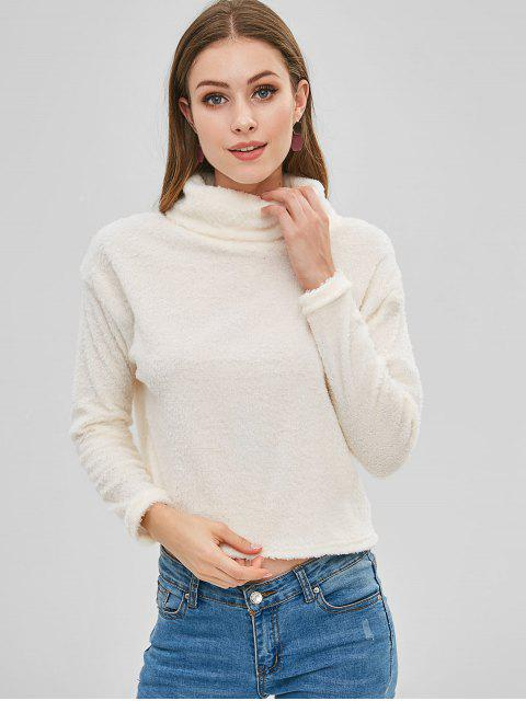 shop ZAFUL Fluffy Turtleneck Teddy Sweatshirt - WHITE S Mobile