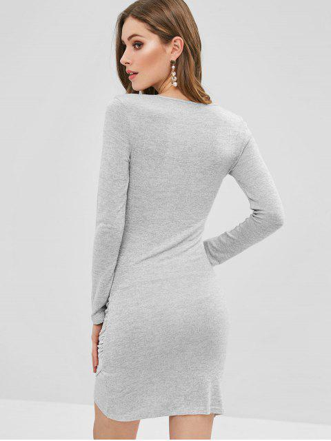 hot Bunny Tie Ruched Knit Bodycon Mini Dress - GRAY CLOUD L Mobile