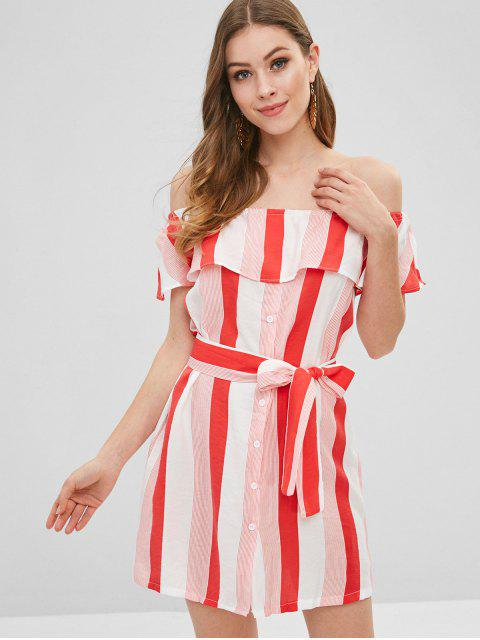 womens Button Up Off Shoulder Stripes Dress - VALENTINE RED XL Mobile