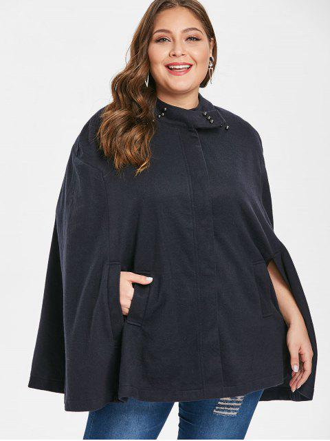 hot Plus Size Beading Poncho Coat - DEEP BLUE 1X Mobile