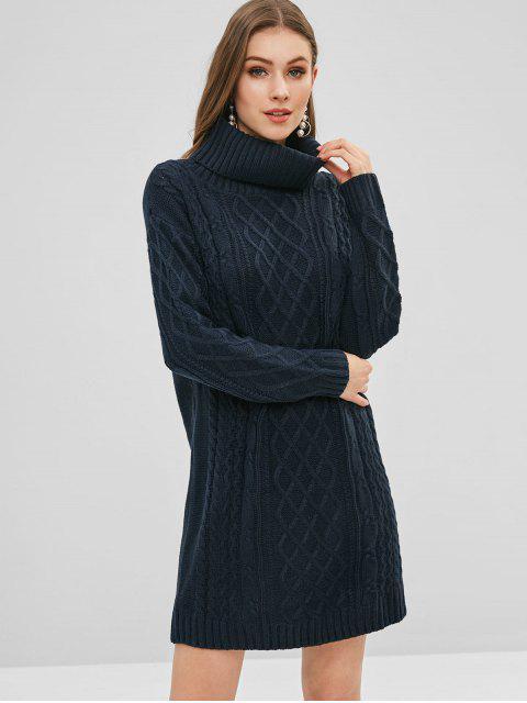 Vestido de suéter de cuello alto de tejido de cable - Azul de Medianoche 2XL Mobile