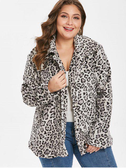 lady Plus Size Leopard Button Up Coat - LEOPARD 1X Mobile