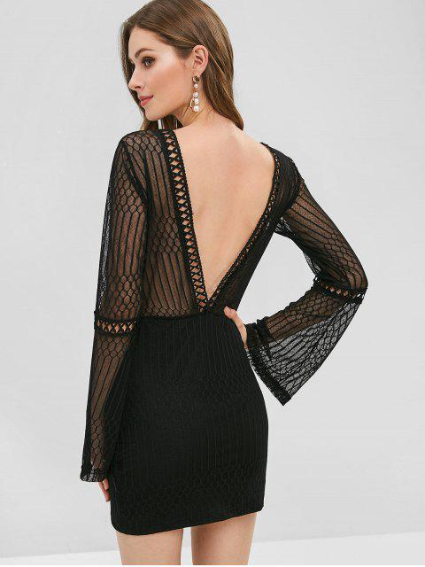 outfit Mesh Crochet Bodycon Party Dress - BLACK M Mobile