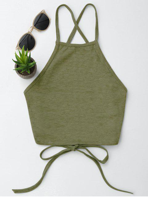 lady Open Back Cropped Tank Top - ARMY GREEN XL Mobile