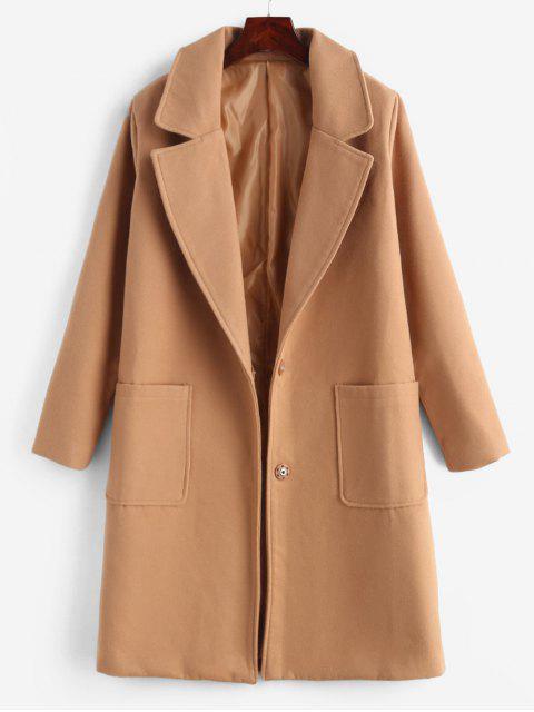women Faux Wool Snap Button Masculine Coat - CAMEL BROWN L Mobile