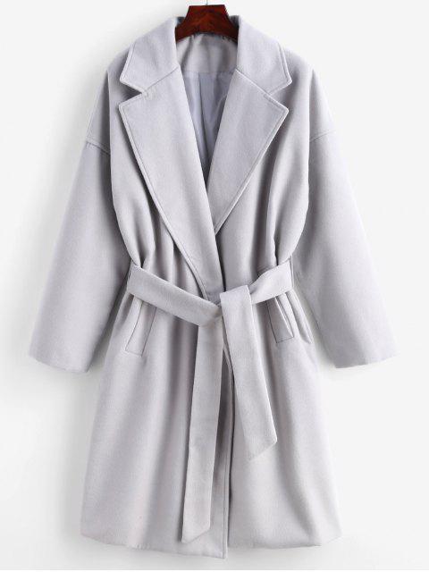 women Tie Belt Faux Wool Winter Coat - GRAY GOOSE 2XL Mobile
