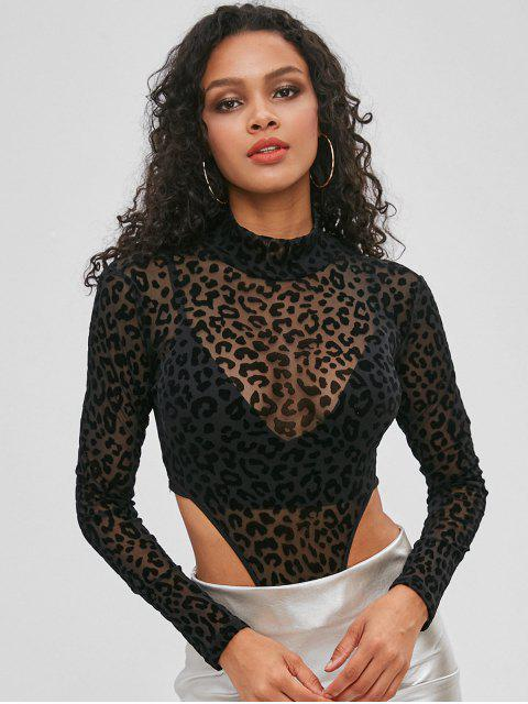 shop Leopard Flocked Snap Crotch Thong Bodysuit - BLACK M Mobile