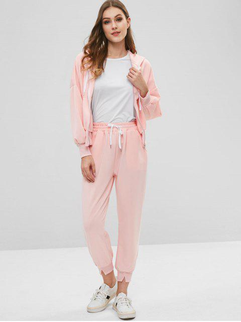 fancy Zip Up Hoodie and Joggers Pants Tracksuit - PIG PINK XL Mobile