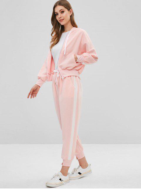 Sudadera con cremallera con capucha y pantalones de chándal - Cerdo Rosa XL Mobile