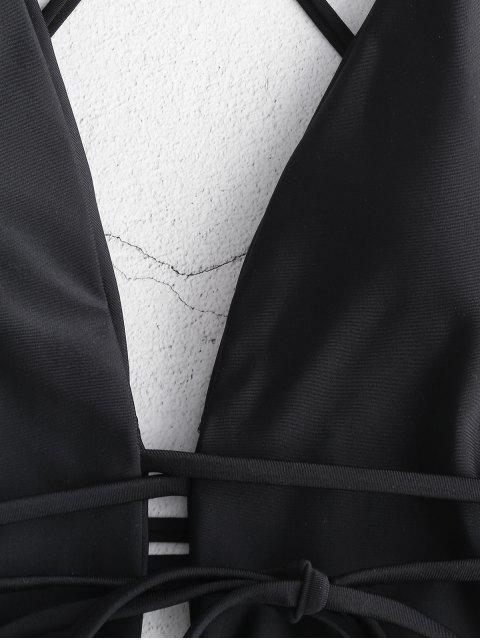 online ZAFUL Backless Plunging High Leg Swimsuit - BLACK S Mobile