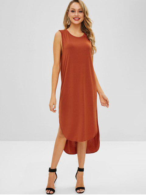 affordable ZAFUL High Low Slit Sleeveless Dress - LIGHT BROWN ONE SIZE Mobile