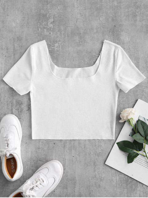 affordable Ribbed Short Sleeve Crop Top - WHITE S Mobile