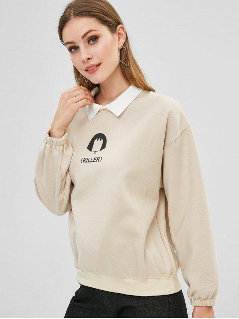 sale Letter Drop Shoulder Color Block Sweatshirt - BEIGE ONE SIZE Mobile