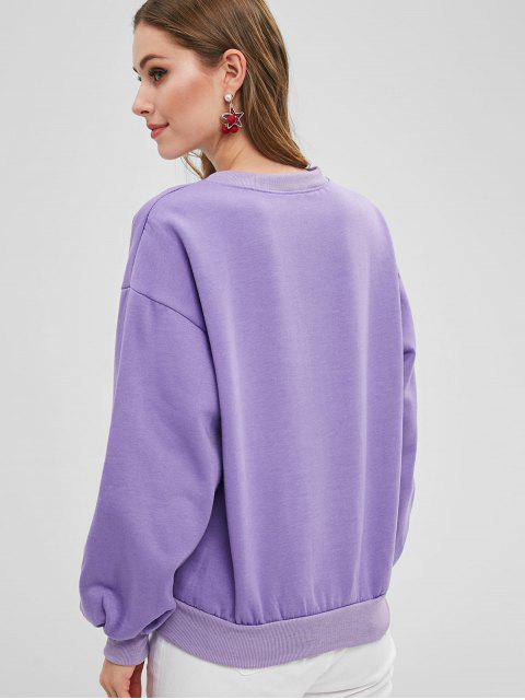 new Horse Embroidered Drop Shoulder Sweatshirt - PURPLE MIMOSA ONE SIZE Mobile