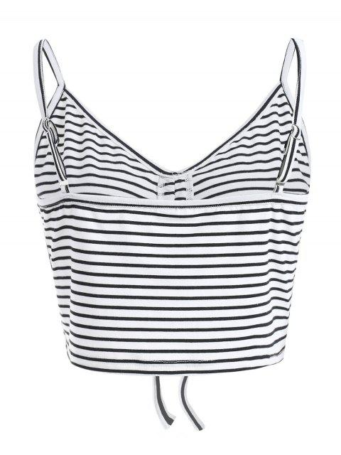 ladies ZAFUL Cami Cinched Stripes Tank Top - MILK WHITE M Mobile