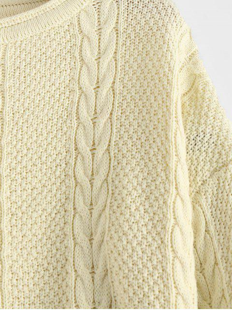 outfits Slit Cable Knit Sweater - WARM WHITE ONE SIZE Mobile