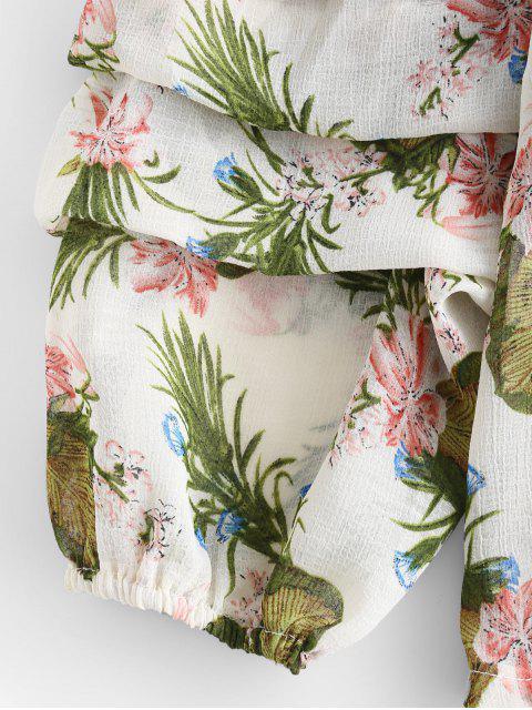 women's Volume Sleeve Off Shoulder Floral Blouse - FERN GREEN S Mobile