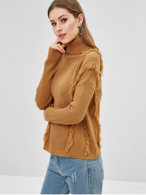 womens Fringed Turtleneck Drop Shoulder Sweater - BEE YELLOW S Mobile