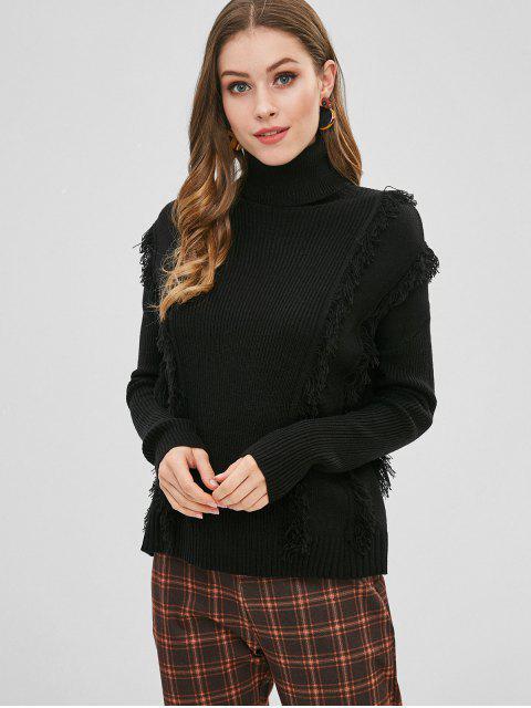 affordable Fringed Turtleneck Drop Shoulder Sweater - BLACK M Mobile