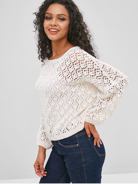 womens Crochet Openwork Chenille Sweater - WHITE XL Mobile