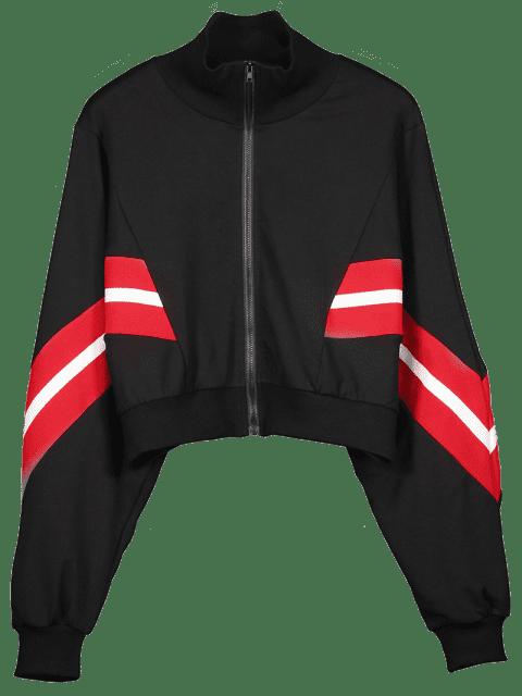 best Zip Up Striped Cropped Sweatshirt - BLACK M Mobile