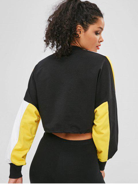Sweat-shirt Court en Blocs de Couleurs à Cordon - Noir L Mobile