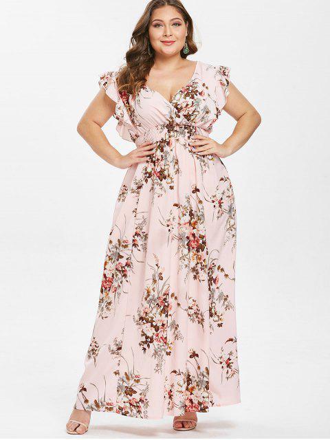 trendy Ruffles Floral Plus Size Maxi Dress - PINK 1X Mobile