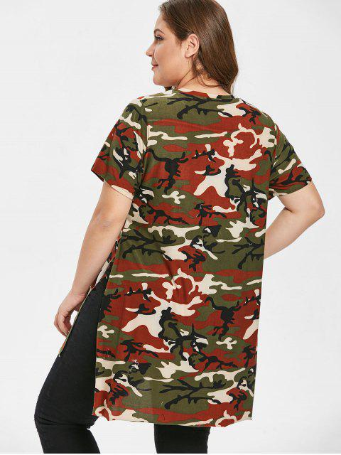 womens Camo Ripped Side Slit Plus Size T-shirt - ACU CAMOUFLAGE L Mobile
