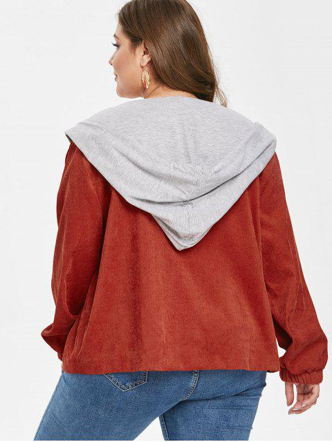 Veste à Capuche de Grande Taille en Velours Côtelé - Brun 1X Mobile