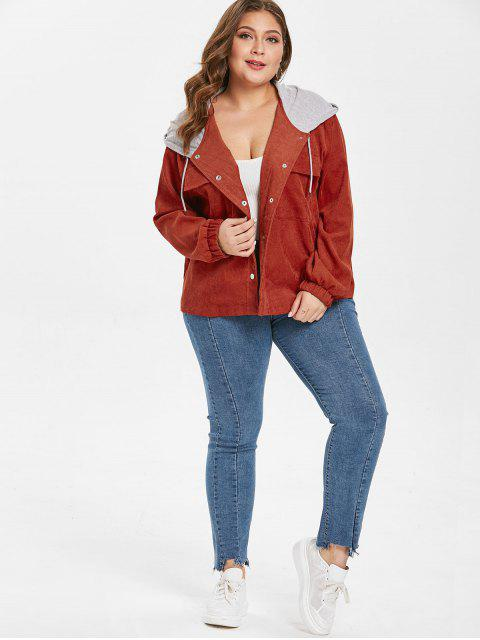 online Hooded Plus Size Corduroy Jacket - BROWN 2X Mobile