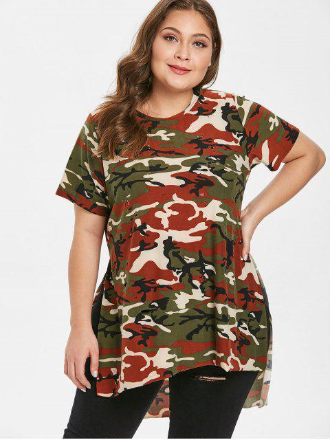 T-shirt Camouflage Déchiré à Fente Latérale de Grande Taille - ACU Camouflage 3X Mobile