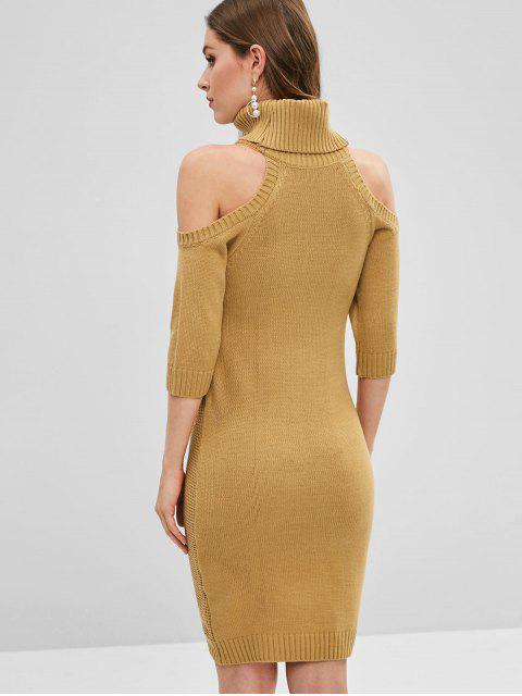Robe Pull en Tricot à Câble à Epaule Dénudée - Brun Biscuit XL Mobile