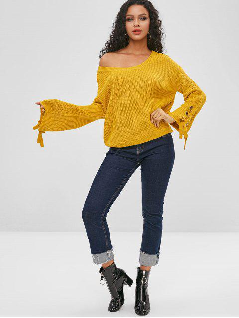 best Skew Neck Plain Lace Up Sweater - BEE YELLOW L Mobile