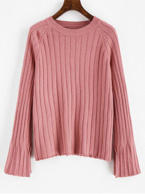 new Solid Color Raglan Sleeves Sweater - PINK ONE SIZE Mobile