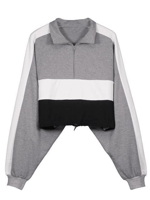 lady Tricolor Drawcord Pullover Cropped Sweatshirt - GRAY S Mobile
