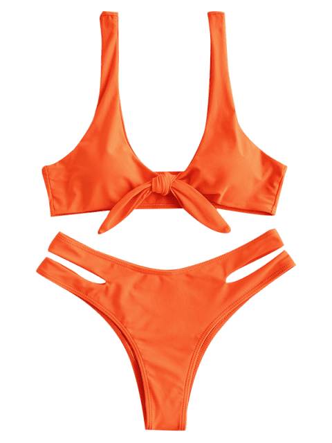 online ZAFUL Tied Cut Out Bikini Set - PUMPKIN ORANGE S Mobile