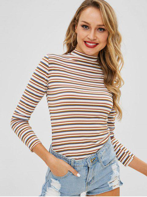 unique High Neck Striped Long Sleeve Tee - MULTI-A M Mobile