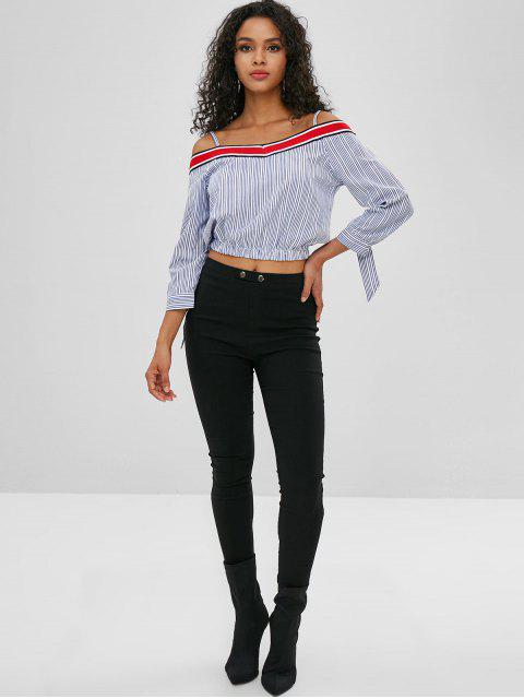 unique Stripes Cold Shoulder Cami Blouse - DEEP BLUE M Mobile