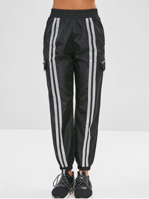women Stripe Swishy Joggers Track Pants - BLACK L Mobile