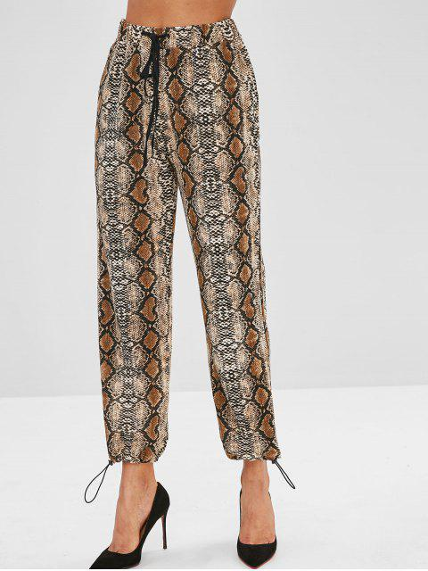 best Snake Print High Waisted Joggers Pants - MULTI L Mobile