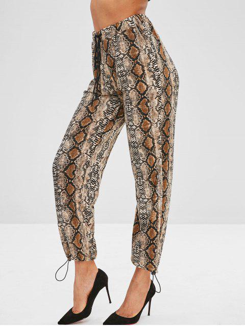 hot Snake Print High Waisted Joggers Pants - MULTI M Mobile