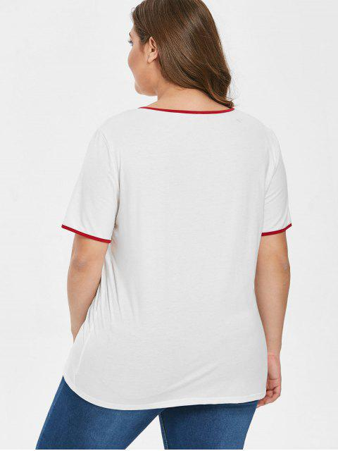 lady Contrasting Trim Graphic Plus Size T-shirt - WHITE 1X Mobile
